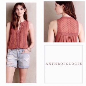 Anthropologie Meadow Rue Mauve Crochet Jenson Tank